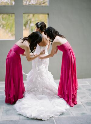 Long Hot Pink Bridesmaids Dresses