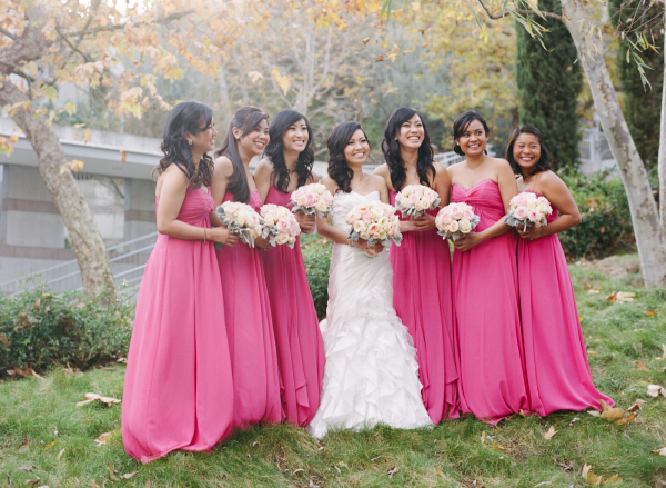 Long Strapless Hot Pink Bridesmaids Dresses