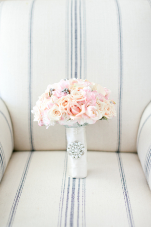 Pale Pink Bridal Bouquet With Rhinestone Brooch