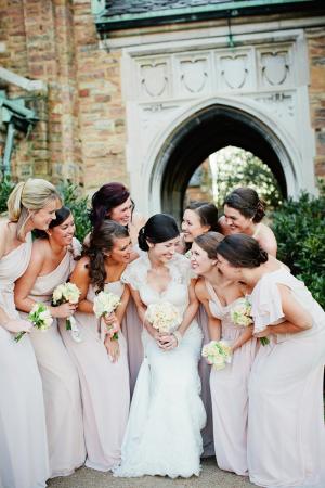 Pale Pink One Shoulder Bridesmaids Dresses