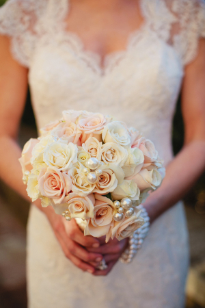 Pale Rose Bouquet With Pearl Accents