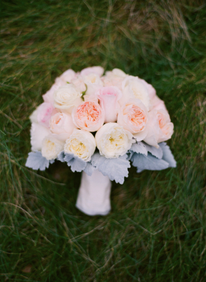 Pastel Peony Bouquet With Dusty Miller