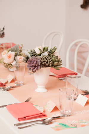 Peach Green Brunch Table
