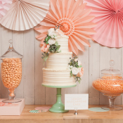 Peach Green Dessert Table