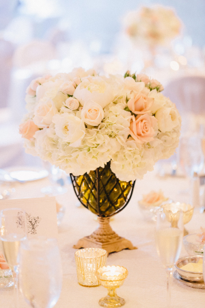 Peach Roses and White Hydrangeas in Amber Vase