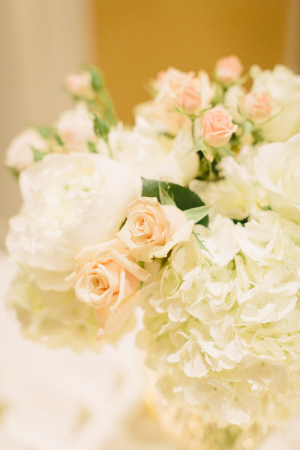Peach and White Roses and White Hydrangea Floral Arrangement