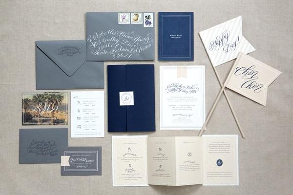 Pink Gray Wedding Invitation Suite