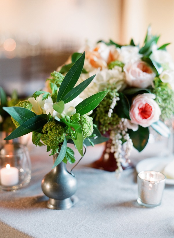 Pink Green and Cream Reception Flowers
