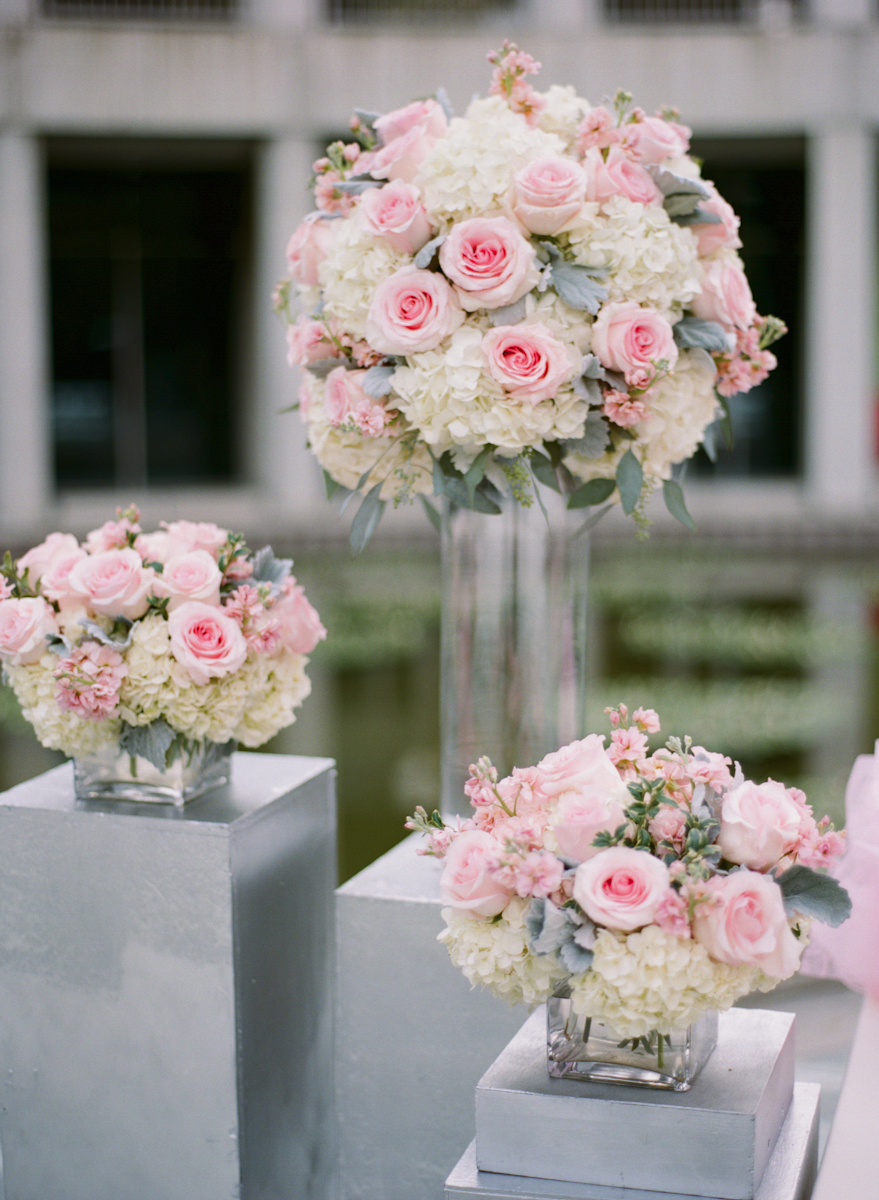 Pink Rose White Hydrangea and Dusty Miller Arrangements ...