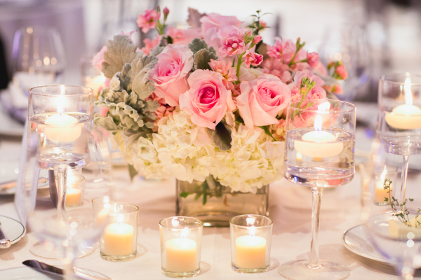 Pink Rose White Hydrangea and Dusty Miller Reception Arrangement