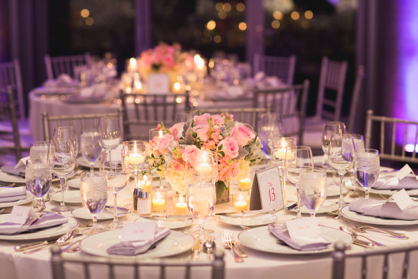 Pink Rose and Dusty Miller Reception Arrangement
