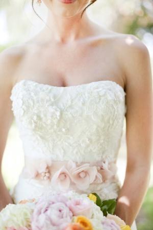 Pink Wedding Gown Floral Sash