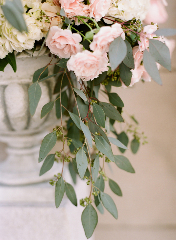 Pink And Cream Flowers With Greenery