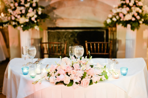 Pink and Green Floral Garland Reception Decor