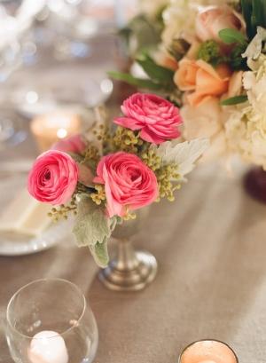 Pink and Peach Reception Flower Arrangements