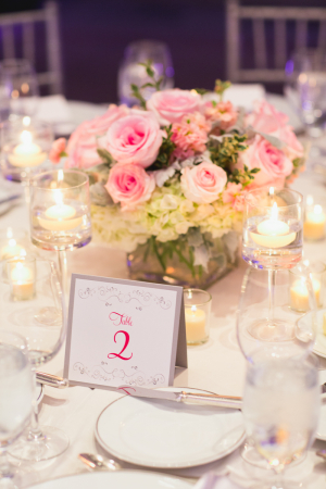 Pink and Silver Reception Decor Ideas