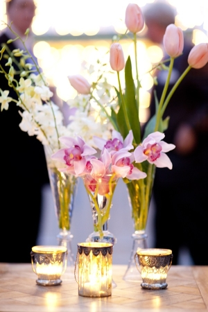 Pink and White Flowers in Glass Vases