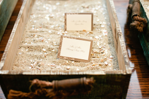 Place Cards in Sand and Crushed Shells