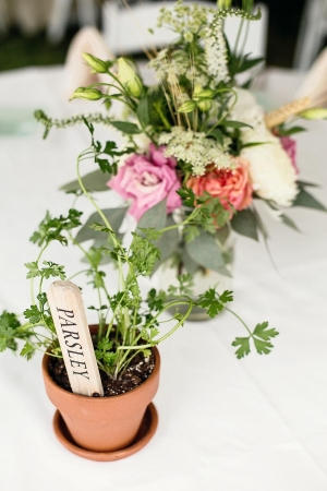 Potted Herbs Reception Table Decor