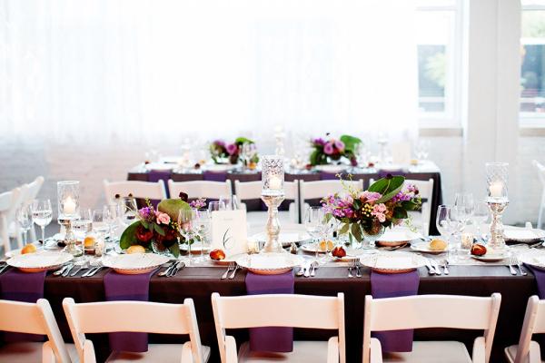 Purple White Modern Wedding