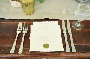 Reception Menu Cards With Leaf Motif