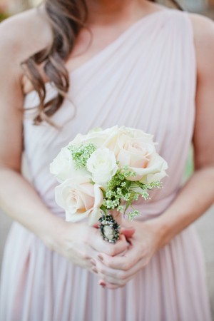 Rose and Babys Breath Bouquet With Cameo Pin