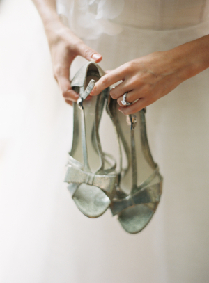 Silver Glitter Shoes With Bows