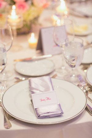 Silver Linens on Reception Table
