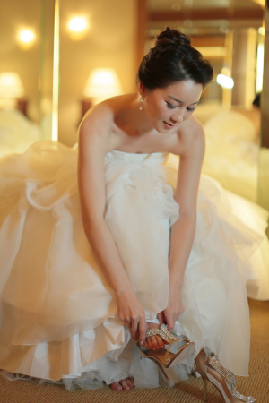 Silver T Strap Bridal Shoes