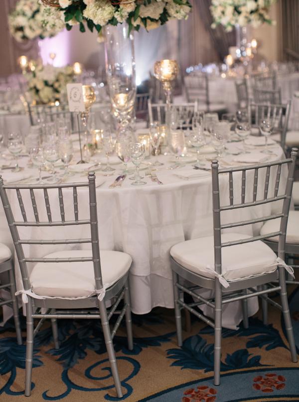 Silver And Cream Ballroom Reception Decor