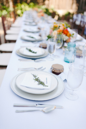 Simple Silver and White Reception China