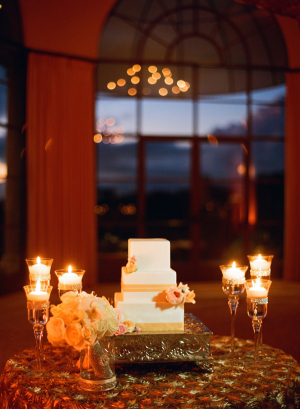 Simple Square Wedding Cake on Silver Stand