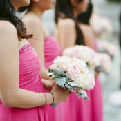 Strapless Hot Pink Bridesmaids Dresses