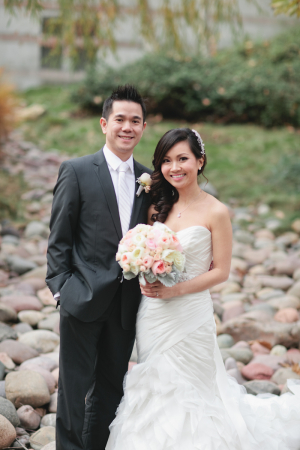 Strapless Satin Wedding Gown With Full Skirt