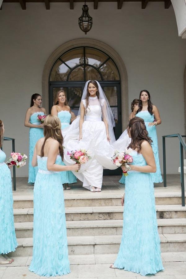 Strapless Tiffany Blue Bridesmaids Dresses