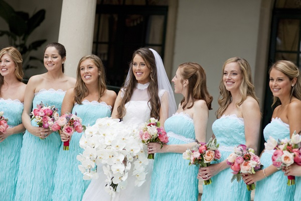 Strapless Tiffany Blue and White Bridesmaids Dresses