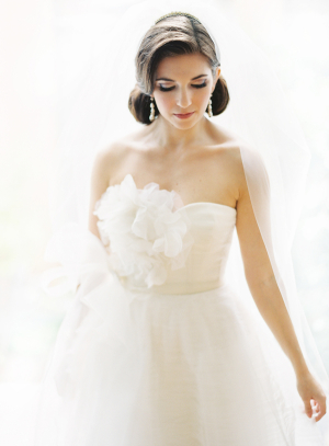 Strapless Wedding Gown With Flower Bust