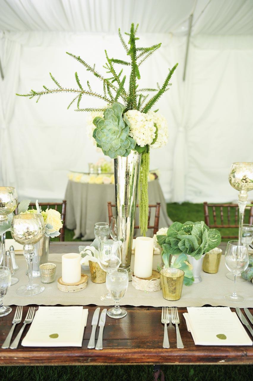 Succulent and hydrangea arrangement in silver trumpet vase succulent and hydrangea arrangement in silver trumpet vase elizabeth anne designs the wedding blog reviewsmspy