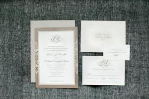 Taupe and Cream Monogrammed Wedding Invitation