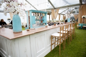 Tiffany Blue and White Outdoor Reception Bar