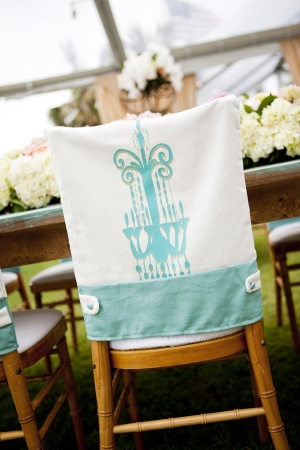 Turquoise and White Chandelier Motif Chair Cover