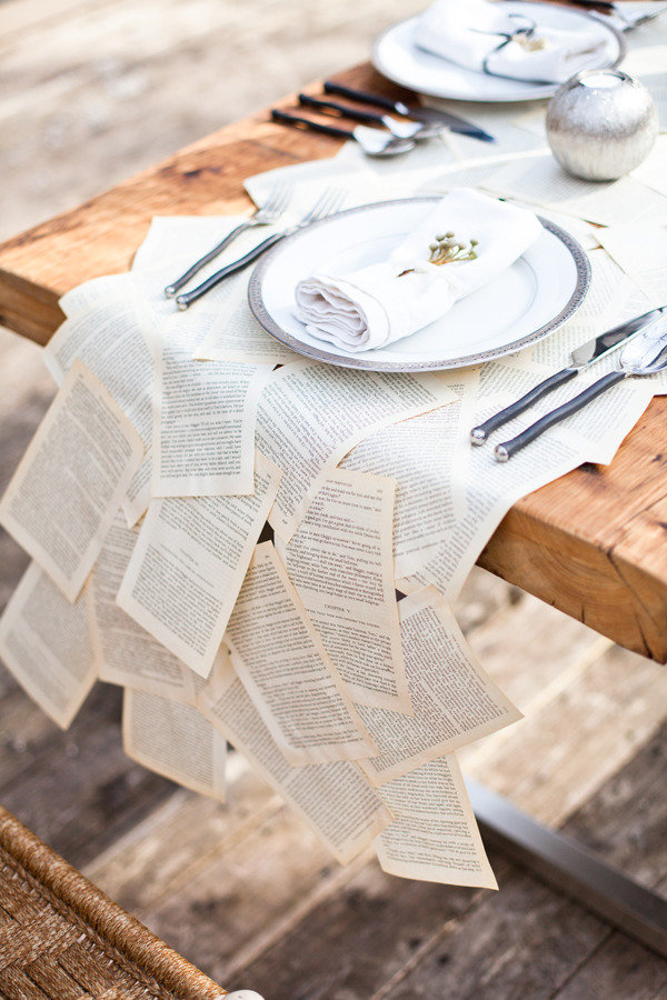 Vintage Book Pages Table Runner