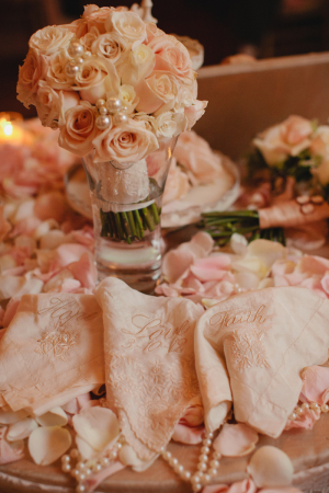 Vintage Lace Pearl and Floral Reception Decor