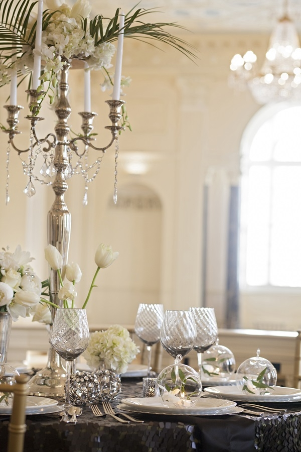 Vintage Silver Table Setting With Palm Fronds and Terrariums ...