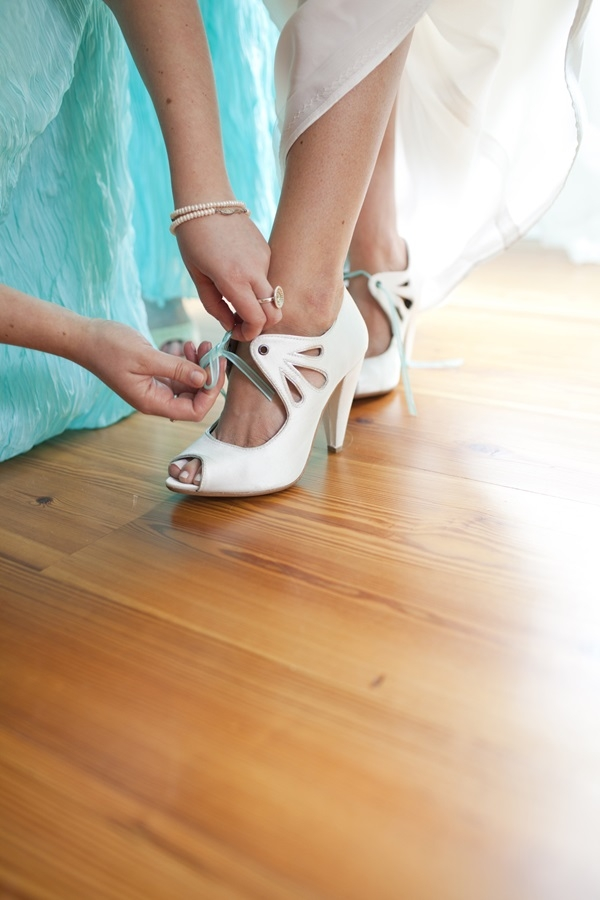 Vintage White Wedding Shoes With Aqua Ribbon Laces