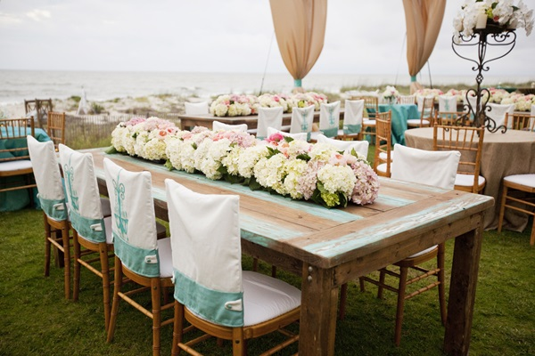 Vintage Wood Wedding Reception Table