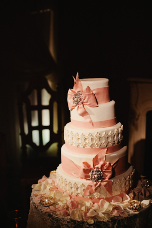 Wedding Cake With Ribbon and Vintage Brooches