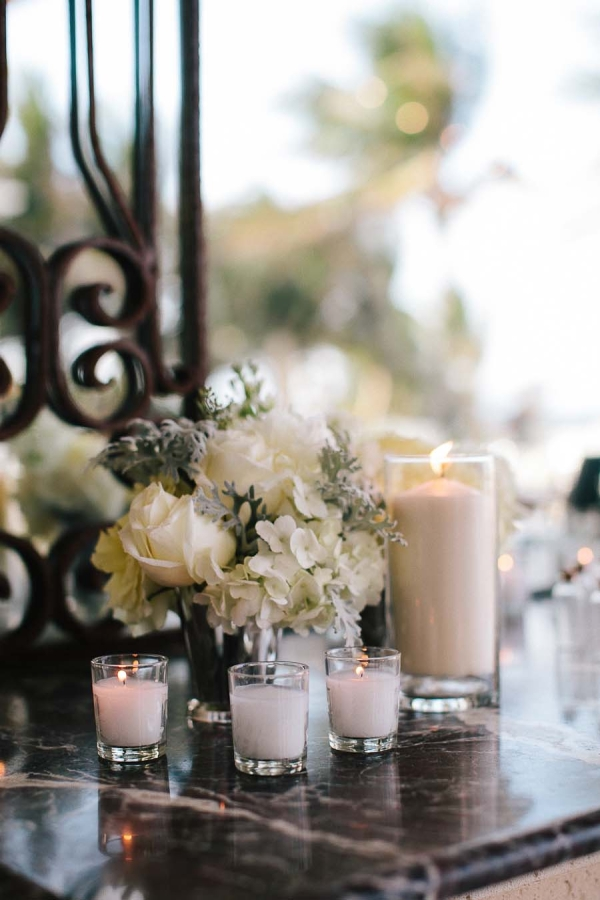 White Flowers Dusty Miller And Candles Reception Decor