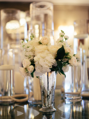 White Flowers in Silver Trumpet Vase