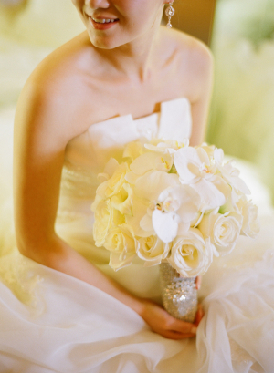 White Rose and Orchid Bridal Bouquet